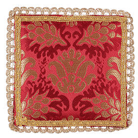 Chalice veil (pall) with wheat embroidery on red brocade s1