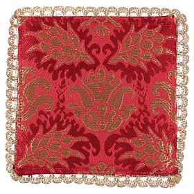 Chalice veil (pall) with wheat embroidery on red brocade s2