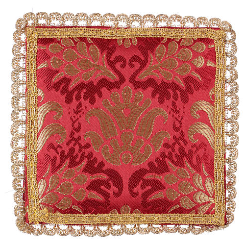 Chalice veil (pall) with wheat embroidery on red brocade 1