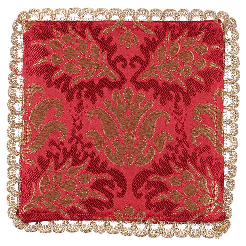 Chalice veil (pall) with wheat embroidery on red brocade 2