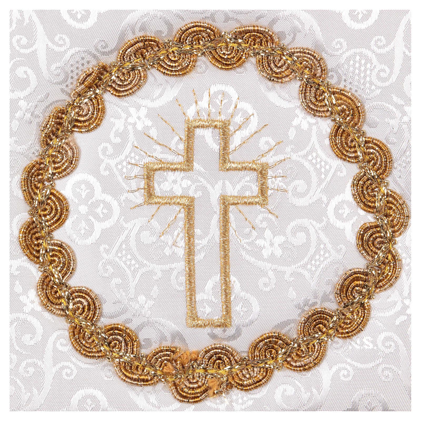 Palla copricalice croce e trinetta su damascato bianco 4