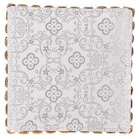 Palla copricalice croce e trinetta su damascato bianco s3