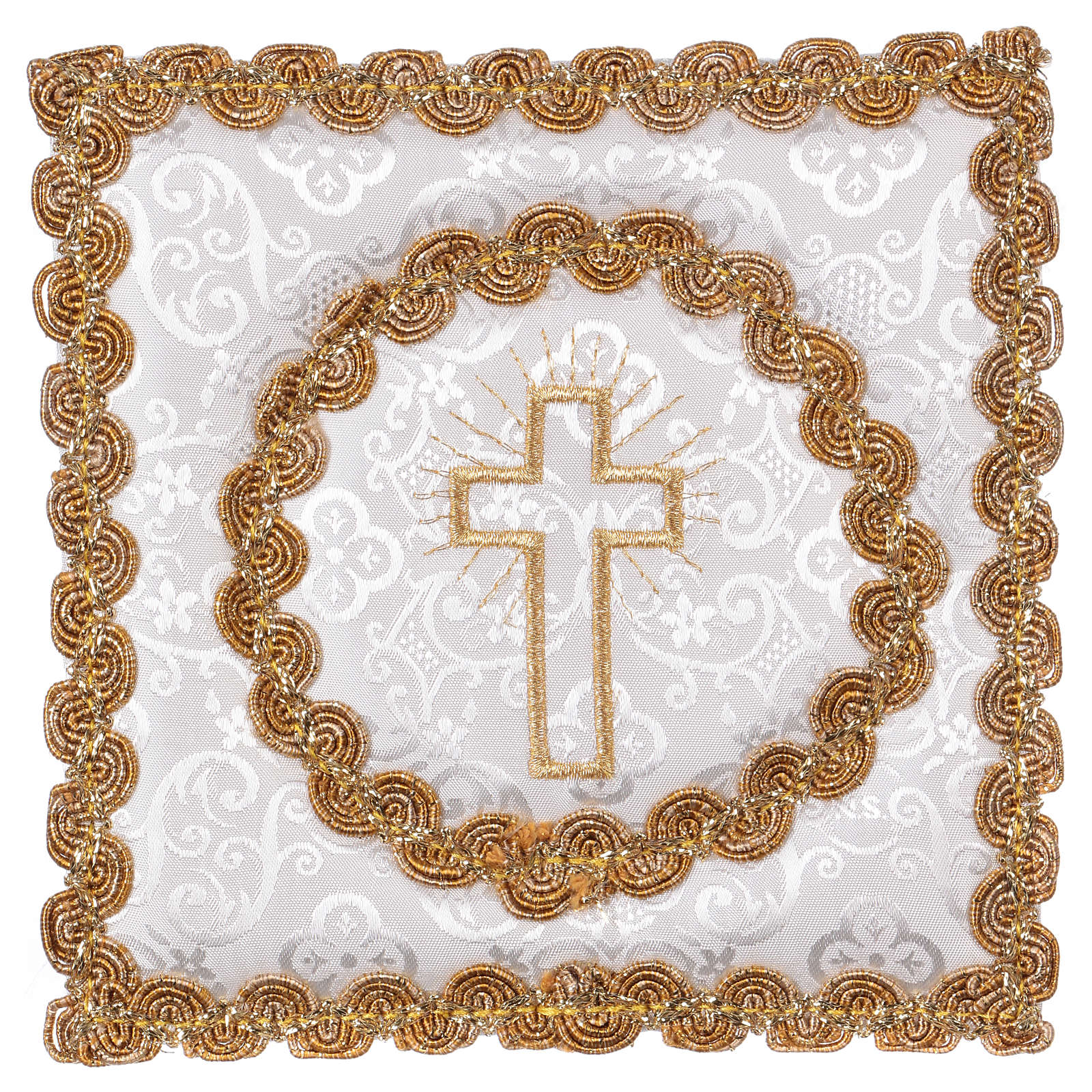 White damask chalice pall with cross embroidery 4
