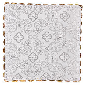 White damask chalice pall with cross embroidery s3