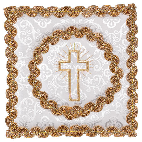 White damask chalice pall with cross embroidery 1