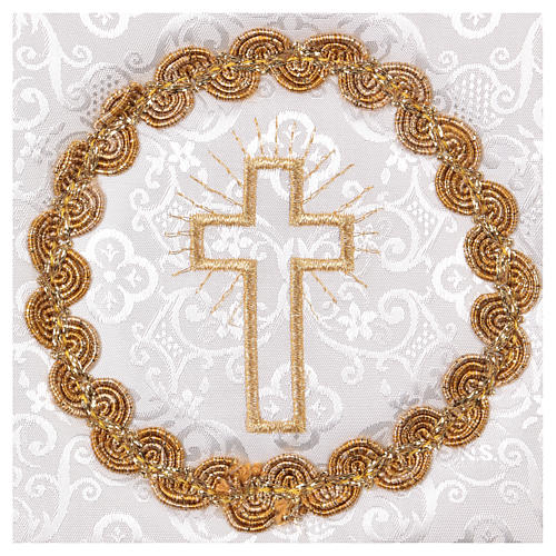White damask chalice pall with cross embroidery 2