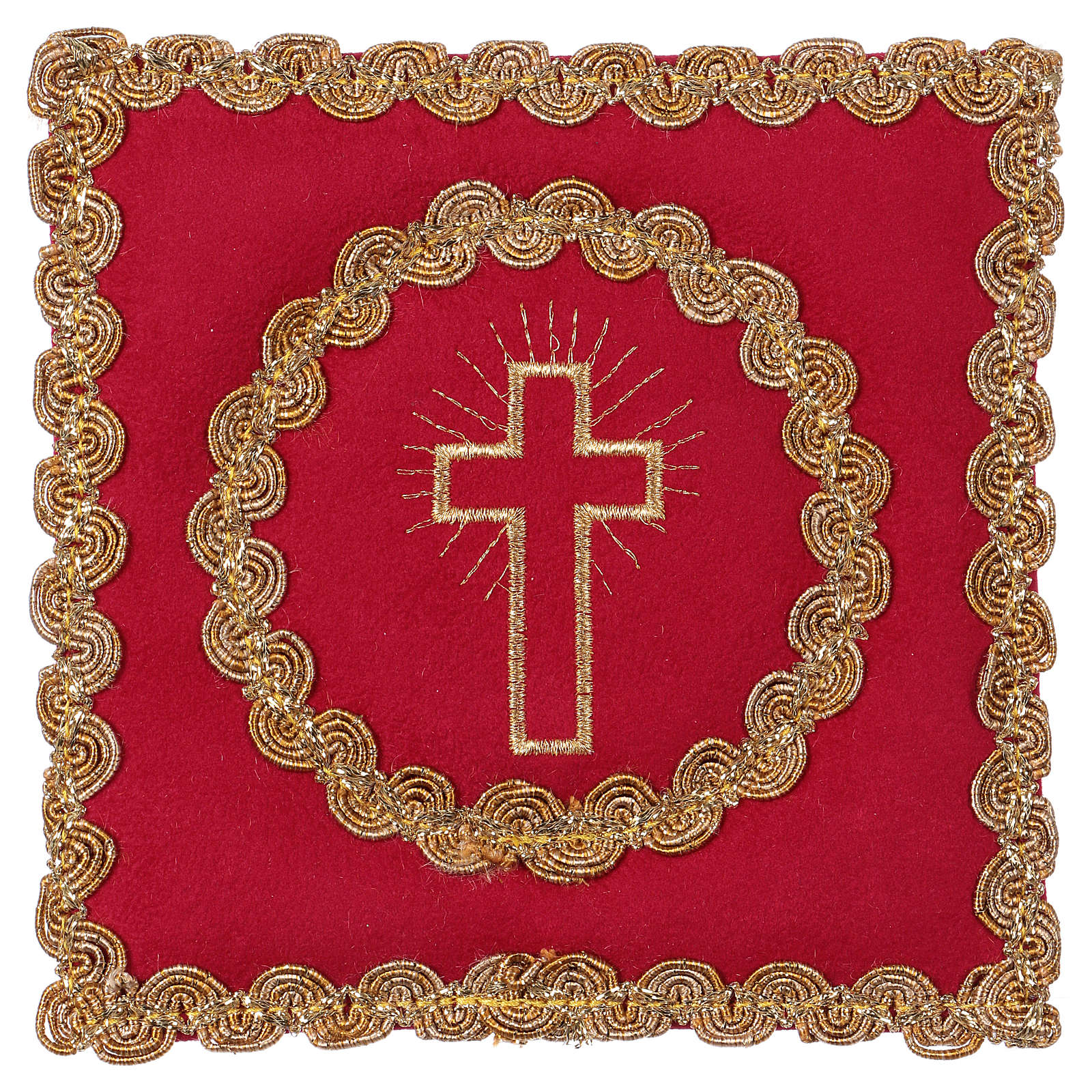 Chalice veil (pall) with golden cross, red flocked fabric 4