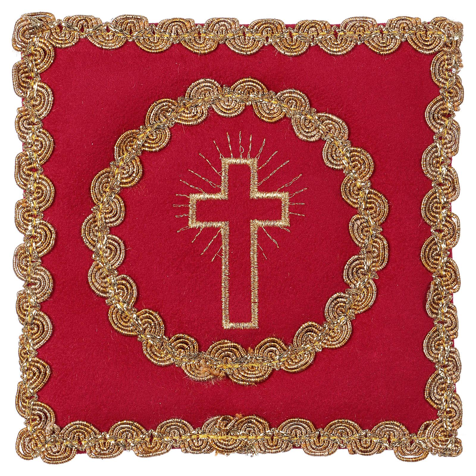 Copricalice croce tessuto fioccato rosso 4