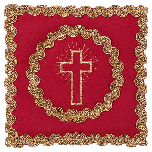 Copricalice croce tessuto fioccato rosso 1