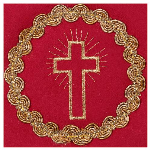 Copricalice croce tessuto fioccato rosso 2