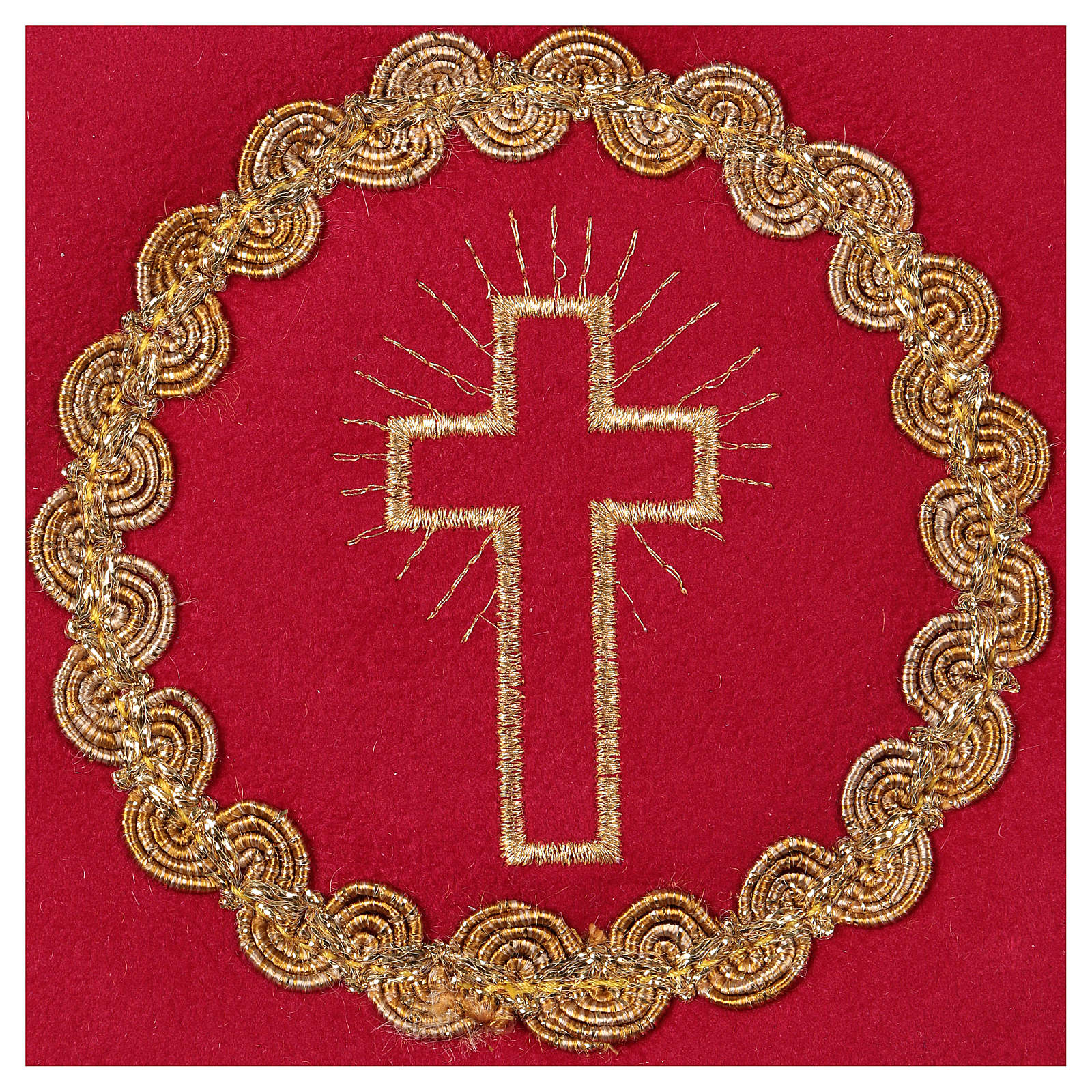 Chalice pall with cross embroidery, red flocked fabric 4