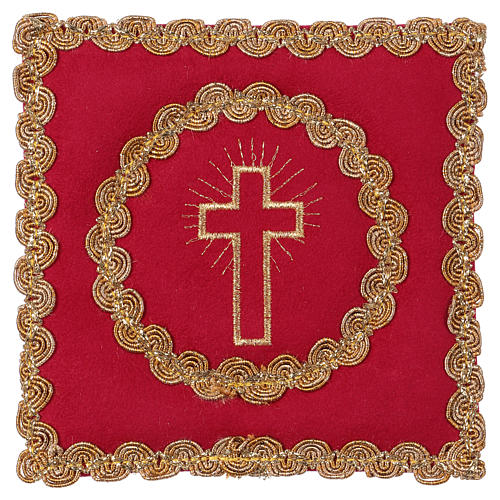 Chalice pall with cross embroidery, red flocked fabric 1