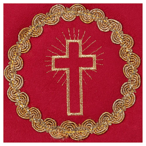Chalice pall with cross embroidery, red flocked fabric 2