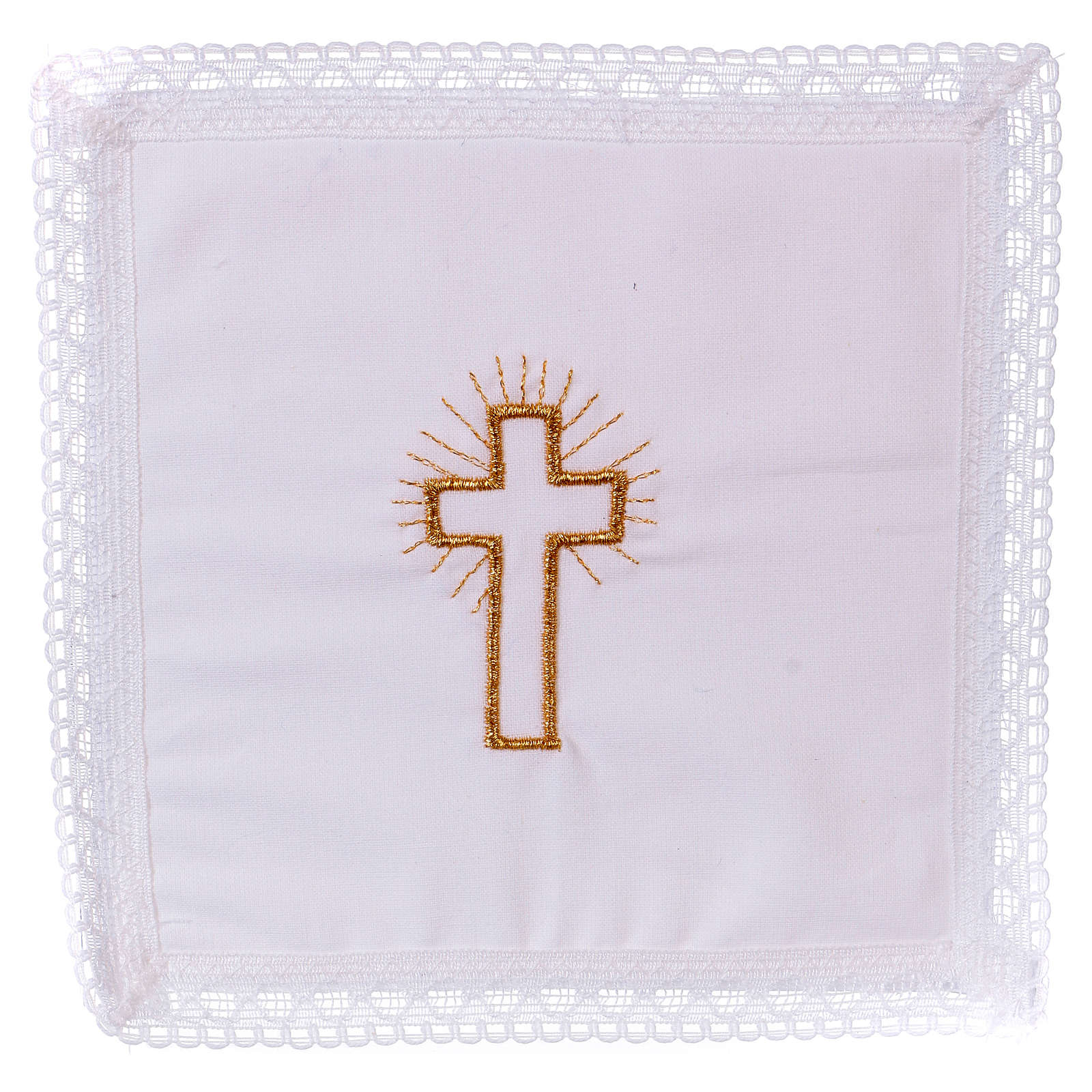Chalice veil (pall) with golden cross 100% cotton 4