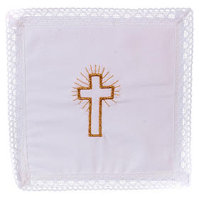 Chalice veil (pall) with golden cross 100% cotton s1