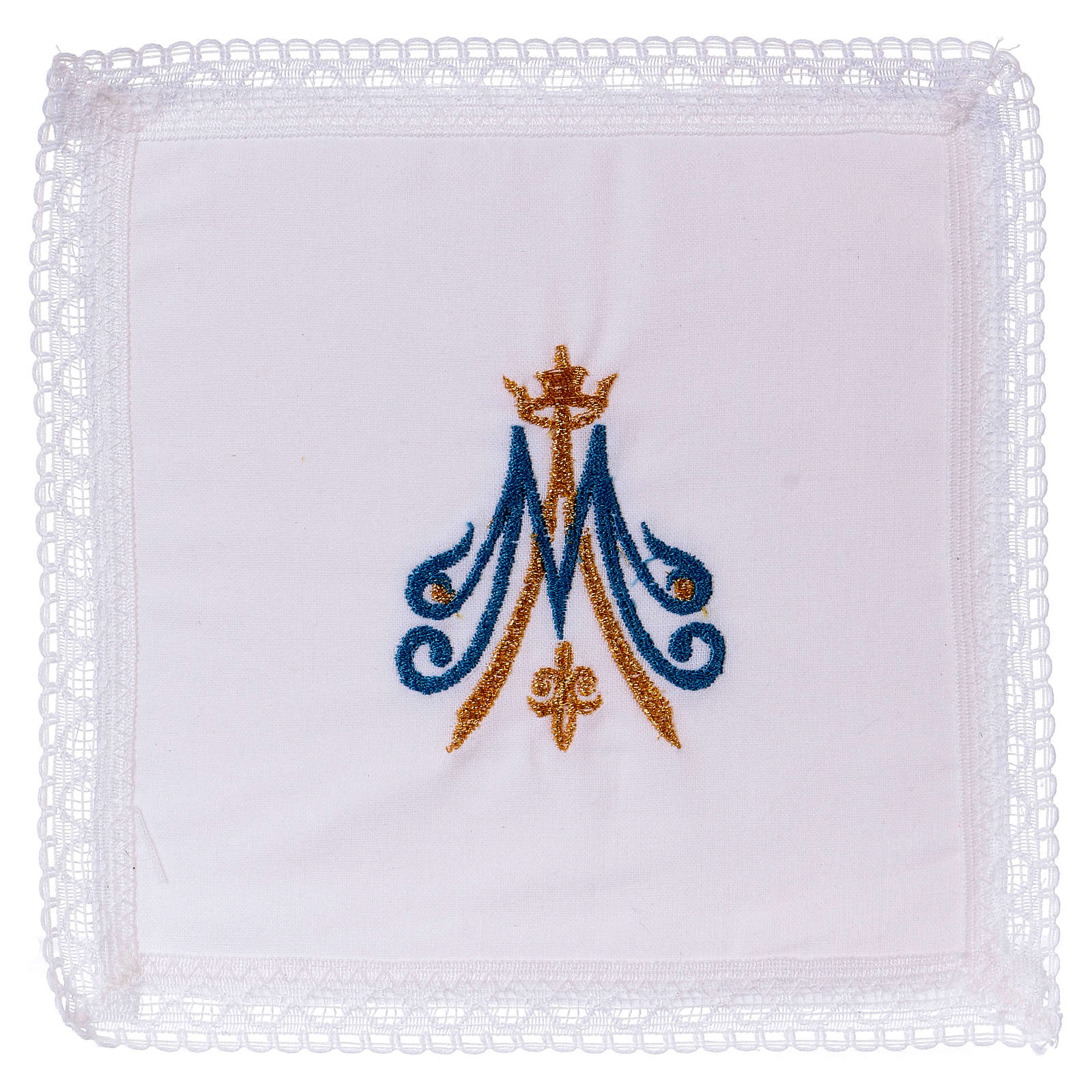 Chalice veil with Marian embroidery, blue and golden 100% cotton 4