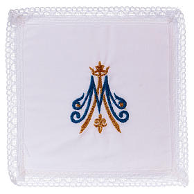 Chalice veil with Marian embroidery, blue and golden 100% cotton s1