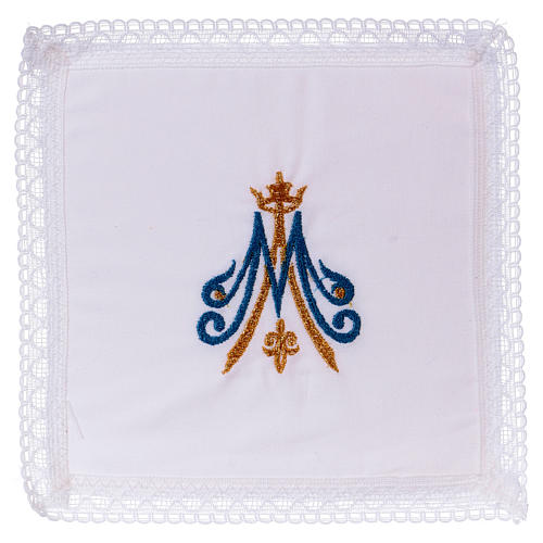 Chalice veil with Marian embroidery, blue and golden 100% cotton 1