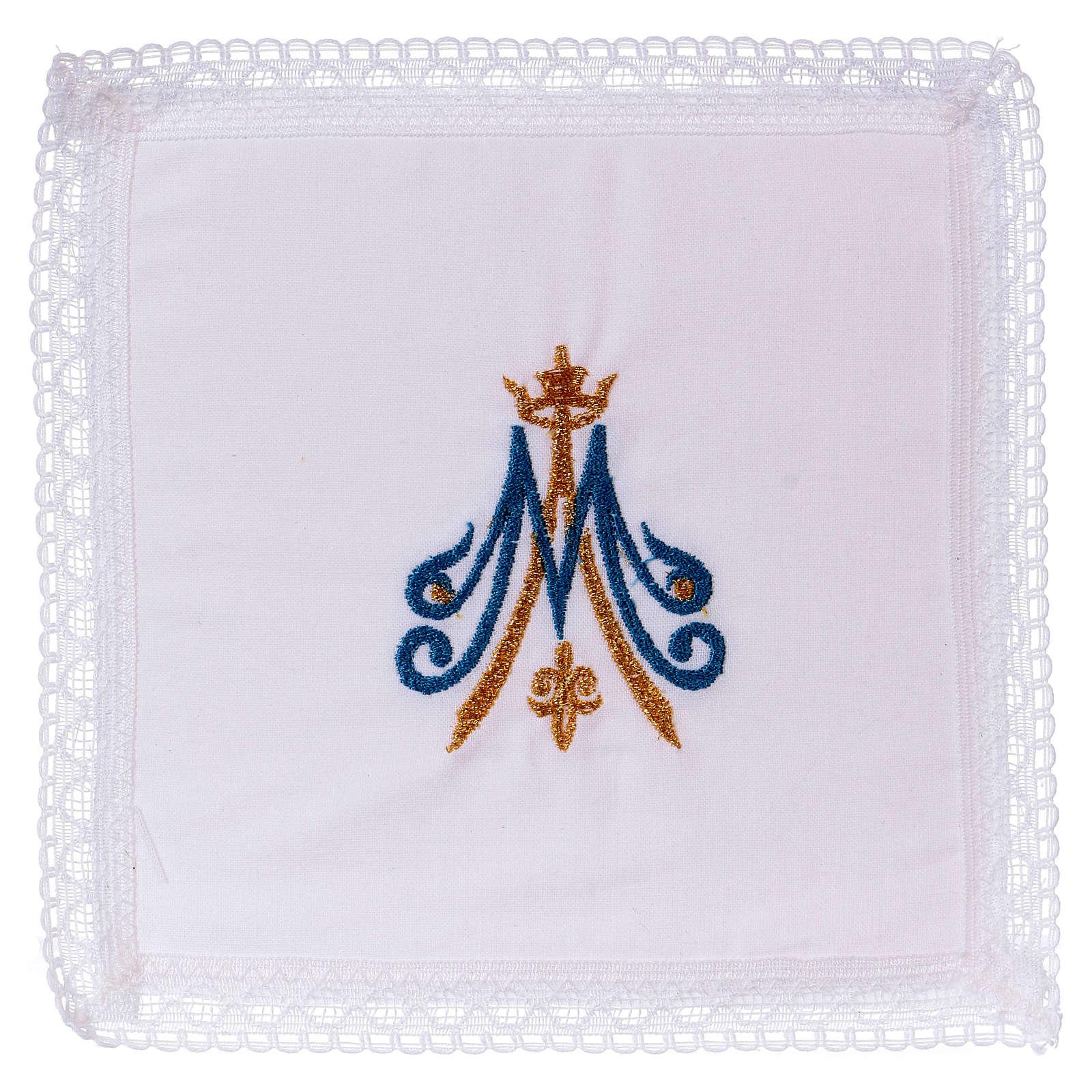 Cubre cáliz bordado mariano azul y dorado 100% algodón  4