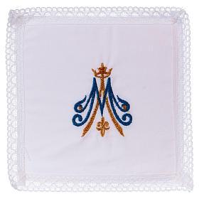Cubre cáliz bordado mariano azul y dorado 100% algodón  s1