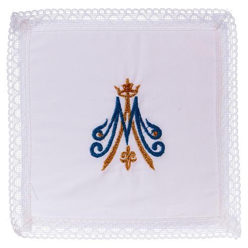Cubre cáliz bordado mariano azul y dorado 100% algodón  1