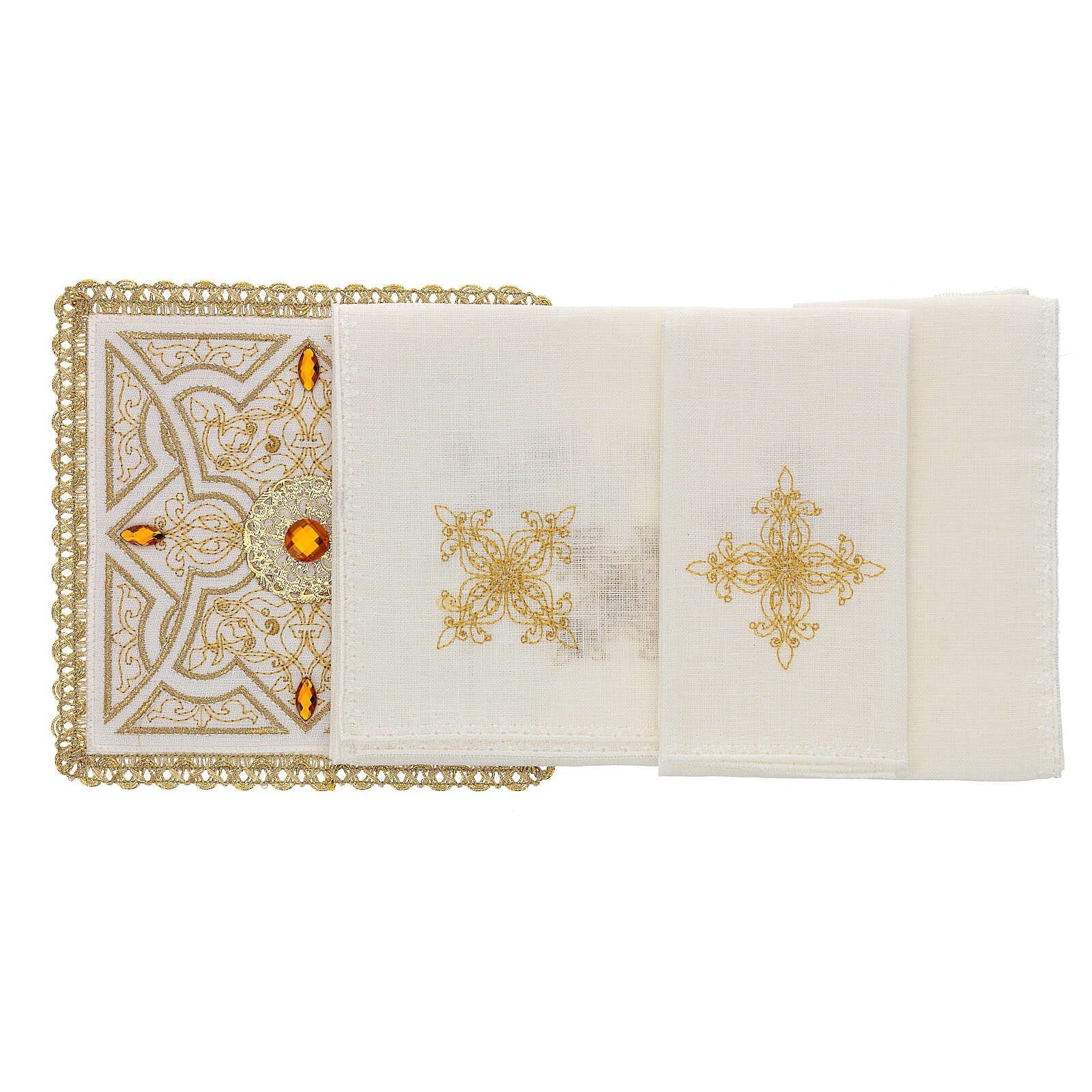 Altar linen set 4 pcs, 100% LINEN gold embroidery Limited Edition 4