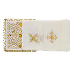 Altar linen set 4 pcs, 100% LINEN gold embroidery Limited Edition s2