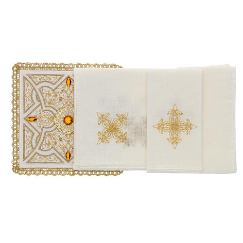 Altar linen set 4 pcs, 100% LINEN gold embroidery Limited Edition 2