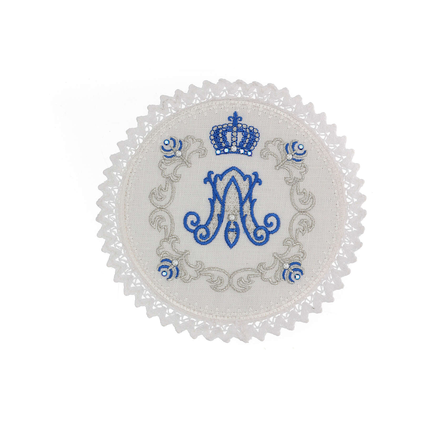 Linge autel 4 pcs 100% LIN rond broderies décorations bleu argent Édition Limitée 4