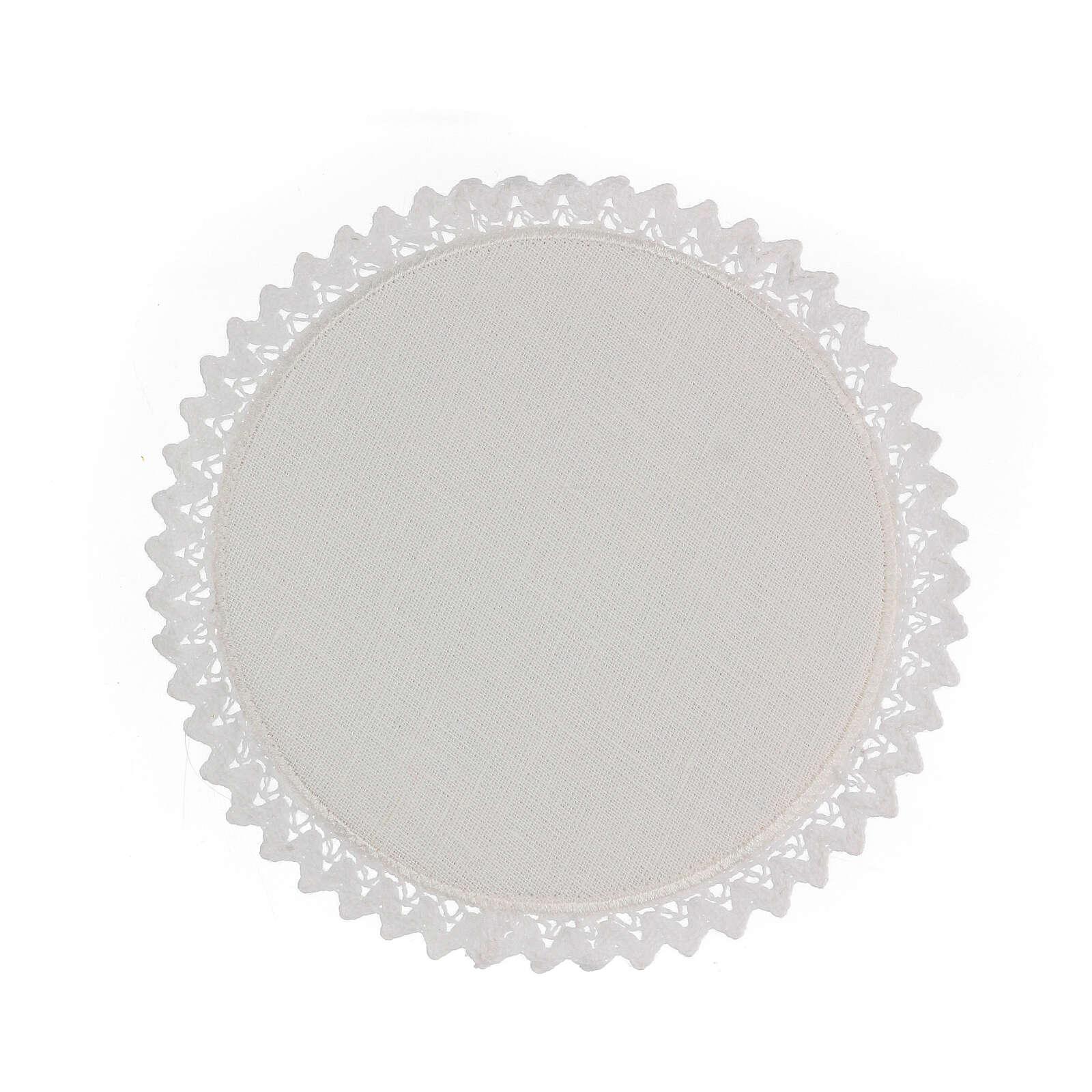 Servizio messa 4 pz. 100% LINO tondo ricami decori blu argento Limited Edition 4