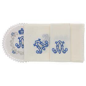 Servizio messa 4 pz. 100% LINO tondo ricami decori blu argento Limited Edition s2