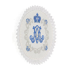 Servizio messa 4 pz. 100% LINO tondo ricami decori blu argento Limited Edition s3