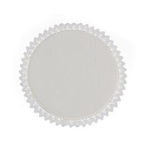 Servizio messa 4 pz. 100% LINO tondo ricami decori blu argento Limited Edition s4