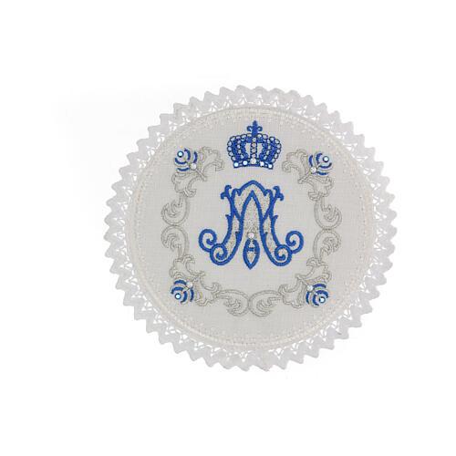 Servizio messa 4 pz. 100% LINO tondo ricami decori blu argento Limited Edition 1