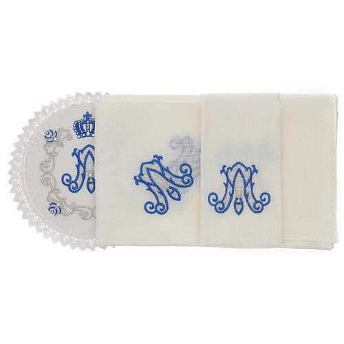 Servizio messa 4 pz. 100% LINO tondo ricami decori blu argento Limited Edition 2