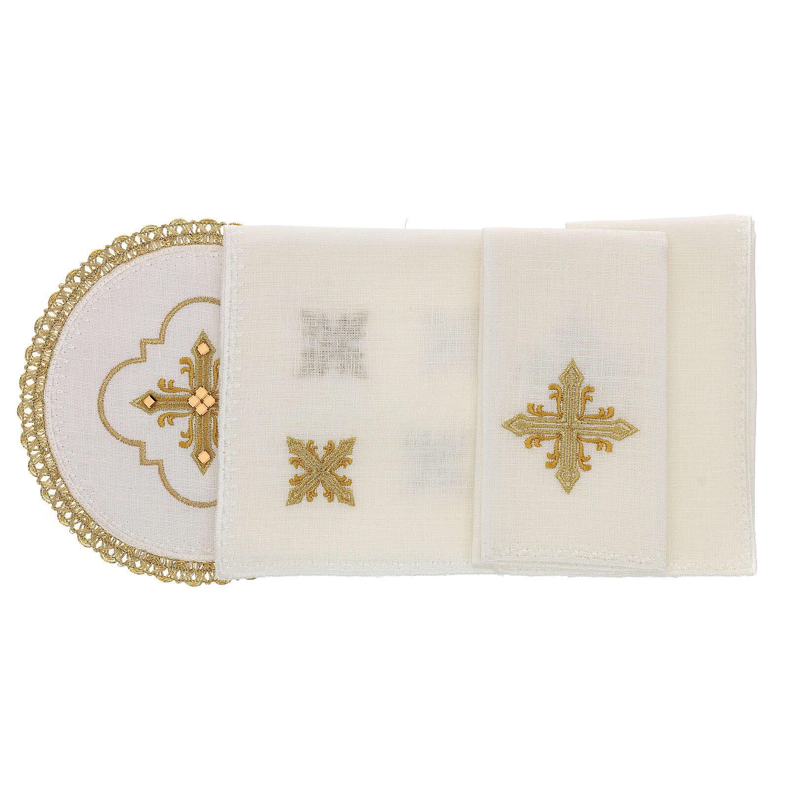 Linge d'autel 4 pcs 100% LIN rond broderies décorations or Édition Limitée 4