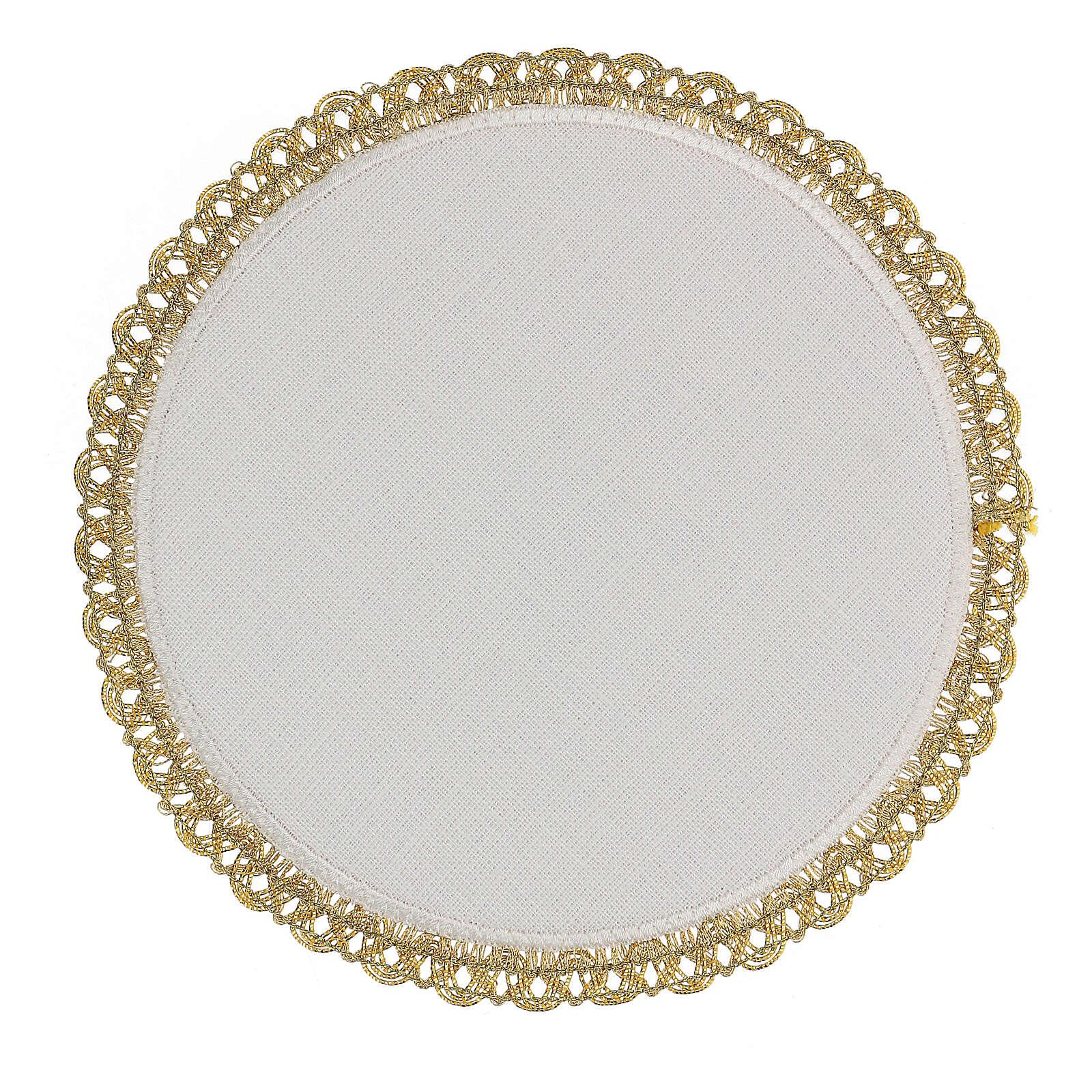 Servizio messa 4 pz. 100% LINO tondo ricami decori oro Limited Edition 4