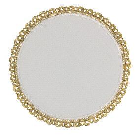 Servizio messa 4 pz. 100% LINO tondo ricami decori oro Limited Edition s4