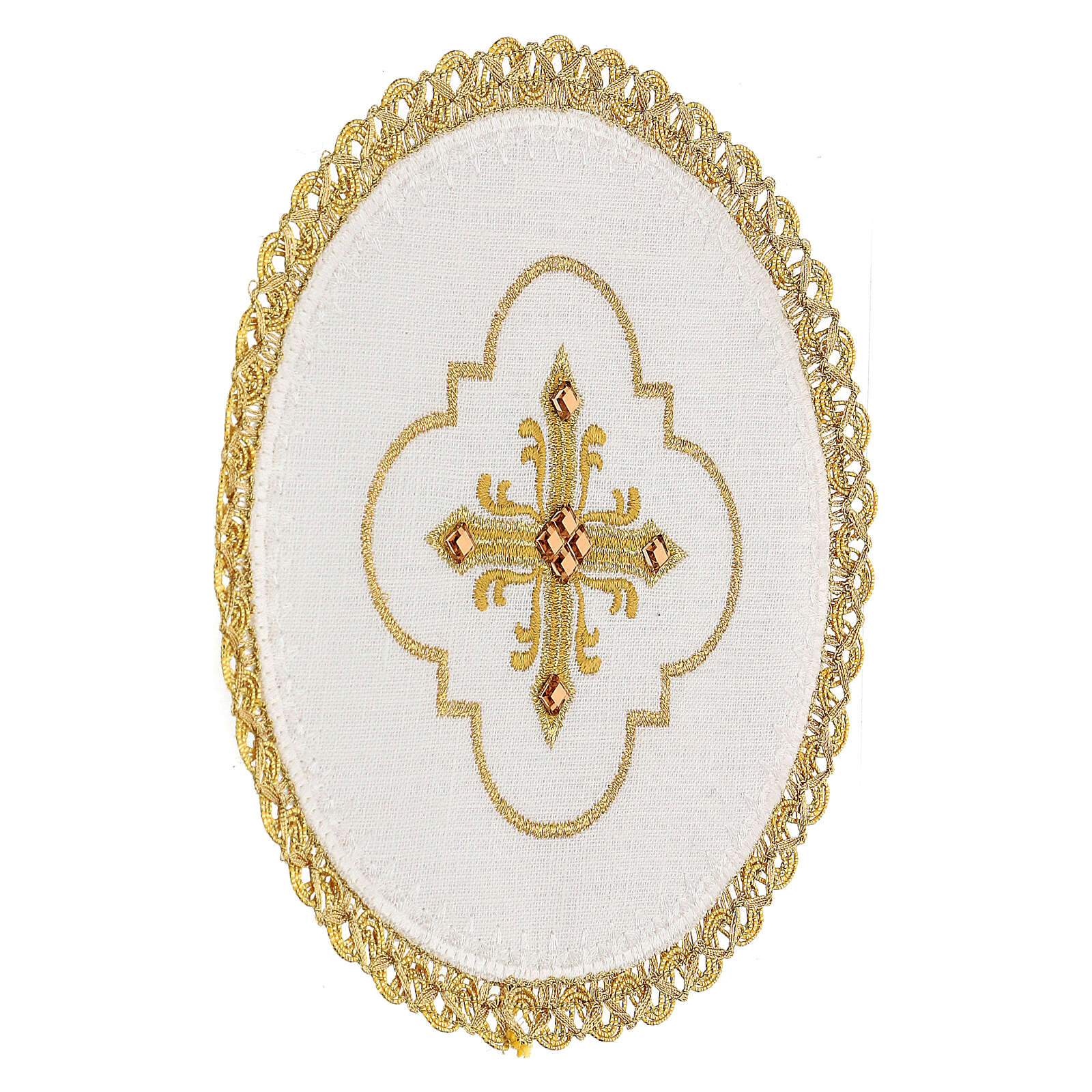 Conjunto altar 4 peças 100% LINHO redondo bordado cruz decorações ouro Edição  Limitada 4