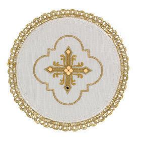 Conjunto altar 4 peças 100% LINHO redondo bordado cruz decorações ouro Edição  Limitada s1