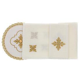 Conjunto altar 4 peças 100% LINHO redondo bordado cruz decorações ouro Edição  Limitada s2