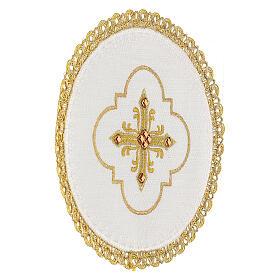 Conjunto altar 4 peças 100% LINHO redondo bordado cruz decorações ouro Edição  Limitada s3