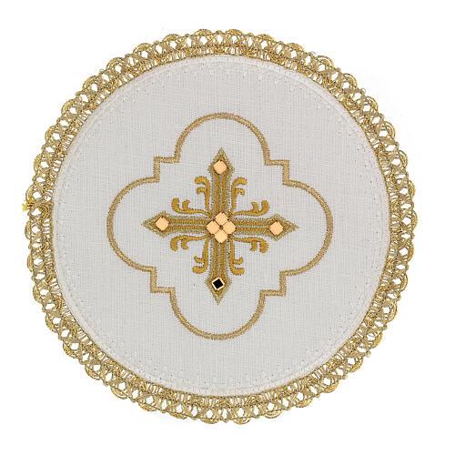 Conjunto altar 4 peças 100% LINHO redondo bordado cruz decorações ouro Edição  Limitada 1