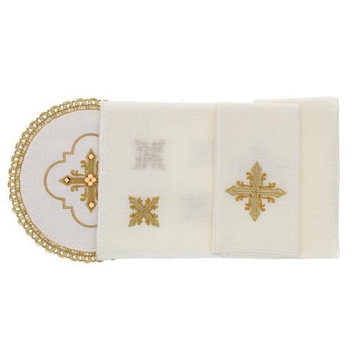 Conjunto altar 4 peças 100% LINHO redondo bordado cruz decorações ouro Edição  Limitada 2