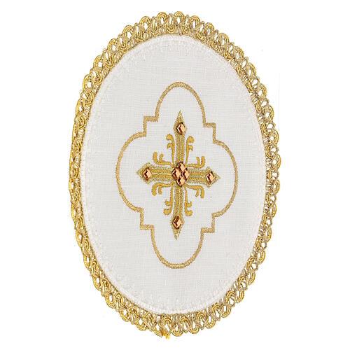 Conjunto altar 4 peças 100% LINHO redondo bordado cruz decorações ouro Edição  Limitada 3
