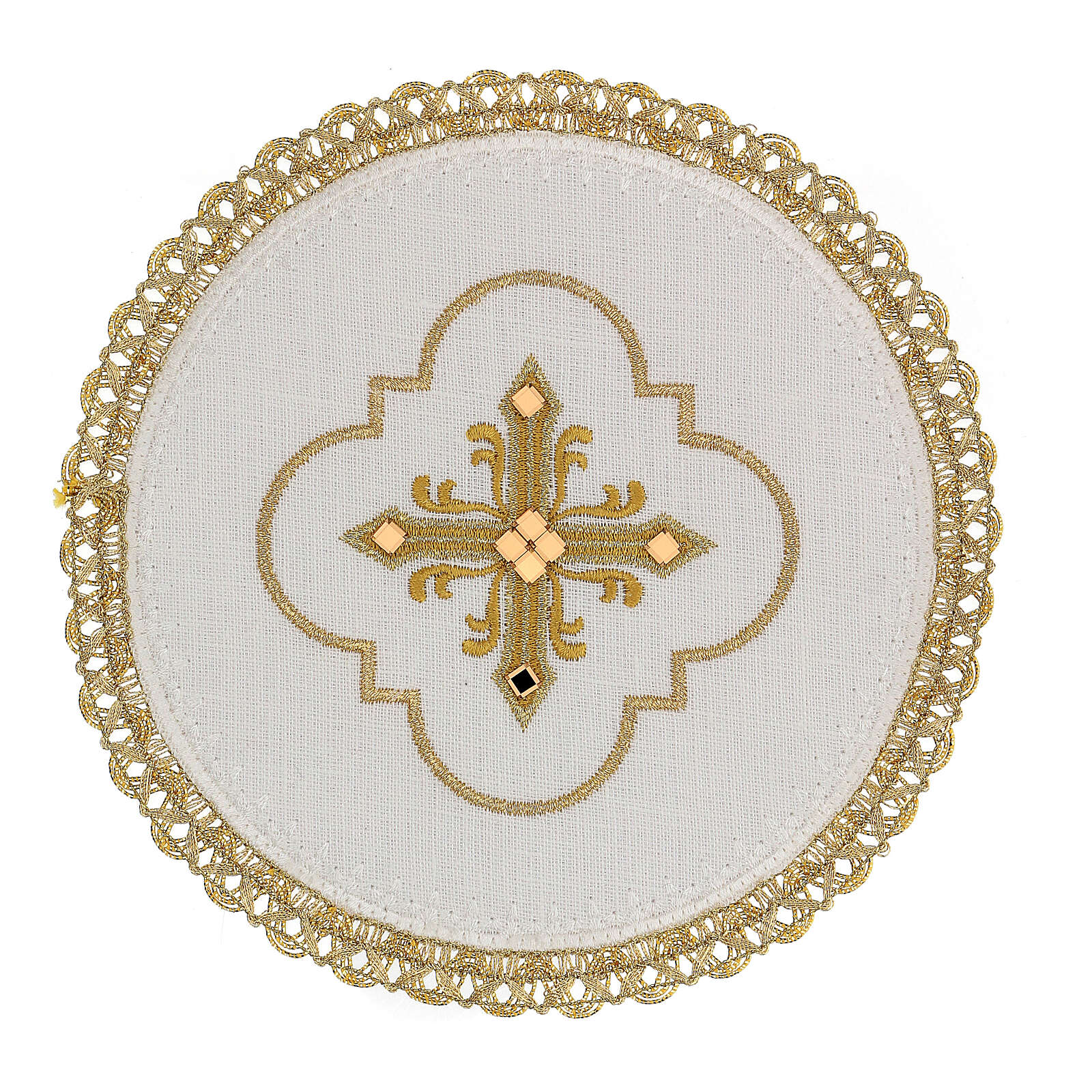 Round altar linen set, 4 pcs 100% LINEN gold embroidered Limited Edition 4