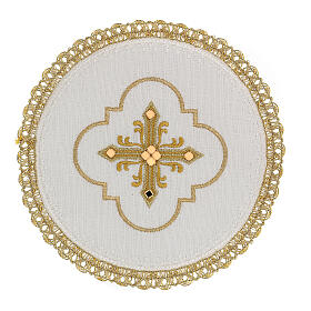 Round altar linen set, 4 pcs 100% LINEN gold embroidered Limited Edition s1