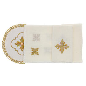 Round altar linen set, 4 pcs 100% LINEN gold embroidered Limited Edition s2