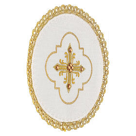 Round altar linen set, 4 pcs 100% LINEN gold embroidered Limited Edition s3