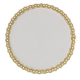 Round altar linen set, 4 pcs 100% LINEN gold embroidered Limited Edition s4
